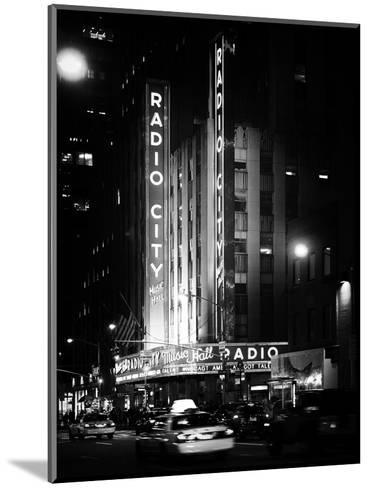 Radio City Music Hall and Yellow Cab by Night, Manhattan, Times Square, NYC, Old Classic-Philippe Hugonnard-Mounted Photographic Print
