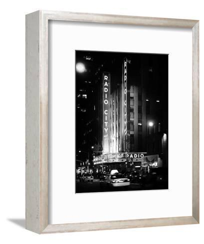 Radio City Music Hall and Yellow Cab by Night, Manhattan, Times Square, NYC, Old Classic-Philippe Hugonnard-Framed Art Print