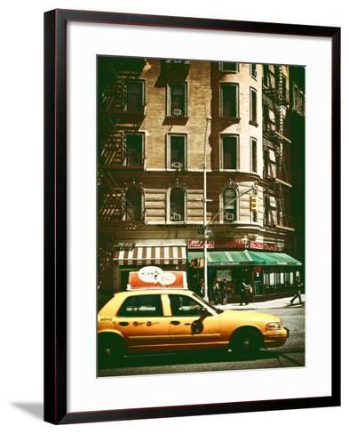 Urban Scene with Yellow Cab on the Upper West Side of Manhattan, NYC, Vintage Colors Photography-Philippe Hugonnard-Framed Art Print