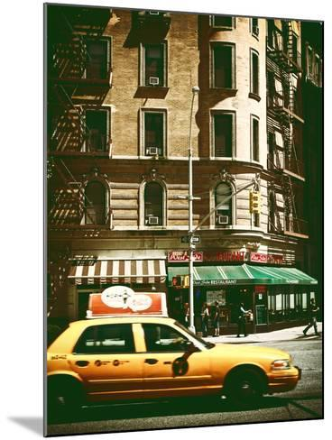 Urban Scene with Yellow Cab on the Upper West Side of Manhattan, NYC, Vintage Colors Photography-Philippe Hugonnard-Mounted Photographic Print