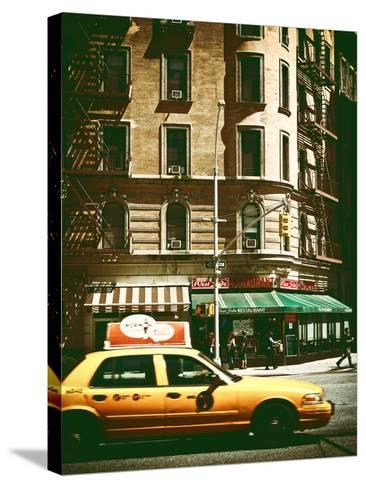 Urban Scene with Yellow Cab on the Upper West Side of Manhattan, NYC, Vintage Colors Photography-Philippe Hugonnard-Stretched Canvas Print