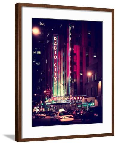 Radio City Music Hall and Yellow Cab by Night, Manhattan, Times Square, NYC, Old Vintage Colors-Philippe Hugonnard-Framed Art Print