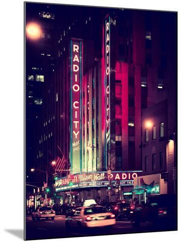 Radio City Music Hall and Yellow Cab by Night, Manhattan, Times Square, NYC, Old Vintage Colors-Philippe Hugonnard-Mounted Photographic Print