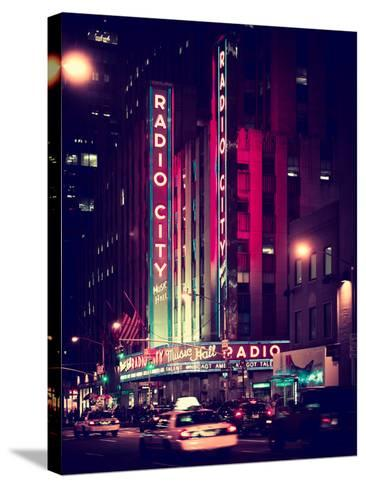 Radio City Music Hall and Yellow Cab by Night, Manhattan, Times Square, NYC, Old Vintage Colors-Philippe Hugonnard-Stretched Canvas Print