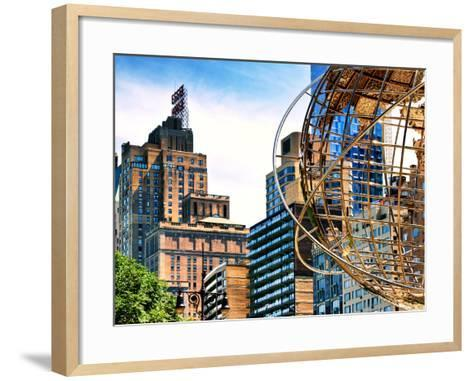 Columbus Circle, Globe Sculpture, 59 Street and Columbus Ave, Essex House Building, New York City-Philippe Hugonnard-Framed Art Print