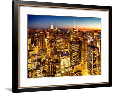 Skyscrapers View, Cityscape by Night, Manhattan, New York City, United States, Color Sunset-Philippe Hugonnard-Framed Art Print
