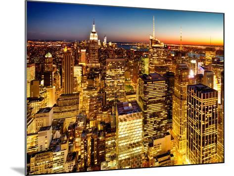 Skyscrapers View, Cityscape by Night, Manhattan, New York City, United States, Color Sunset-Philippe Hugonnard-Mounted Photographic Print