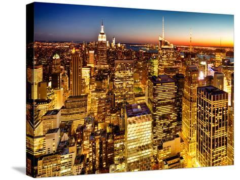 Skyscrapers View, Cityscape by Night, Manhattan, New York City, United States, Color Sunset-Philippe Hugonnard-Stretched Canvas Print