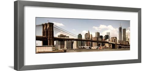 Vintage Panoramic, Skyline of NYC, Manhattan and Brooklyn Bridge, One World Trade Center, US-Philippe Hugonnard-Framed Art Print