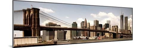 Vintage Panoramic, Skyline of NYC, Manhattan and Brooklyn Bridge, One World Trade Center, US-Philippe Hugonnard-Mounted Photographic Print