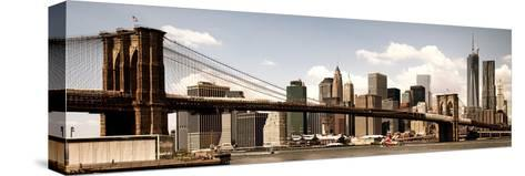 Vintage Panoramic, Skyline of NYC, Manhattan and Brooklyn Bridge, One World Trade Center, US-Philippe Hugonnard-Stretched Canvas Print