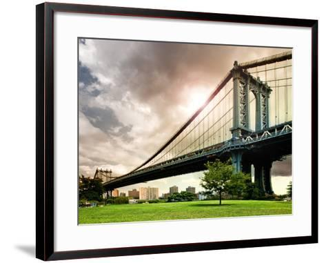 Manhattan Bridge of Brooklyn Park, Manhattan, New York, United States-Philippe Hugonnard-Framed Art Print