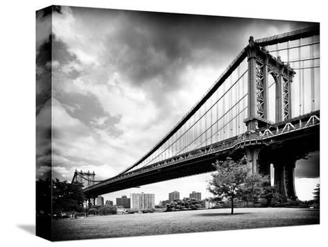 Manhattan Bridge of Brooklyn Park, Black and White Photography, Manhattan, New York, United States-Philippe Hugonnard-Stretched Canvas Print