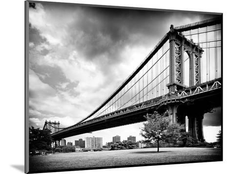 Manhattan Bridge of Brooklyn Park, Black and White Photography, Manhattan, New York, United States-Philippe Hugonnard-Mounted Photographic Print