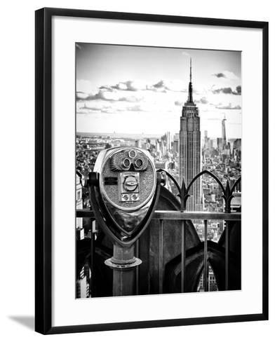 Telescope on the Obervatoire Deck, Top on the Rock at Rockefeller Center, Manhattan, New York-Philippe Hugonnard-Framed Art Print
