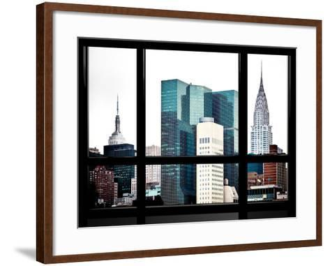 Window View, Special Series, Empire State Building and Chrysler Building Tops, Manhattan, New York-Philippe Hugonnard-Framed Art Print