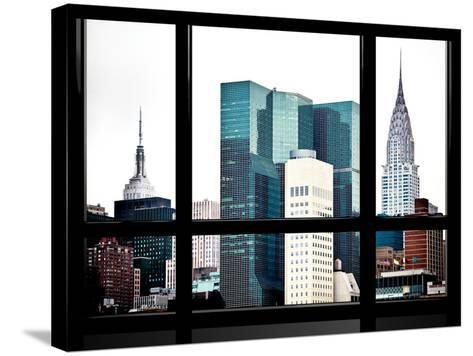 Window View, Special Series, Empire State Building and Chrysler Building Tops, Manhattan, New York-Philippe Hugonnard-Stretched Canvas Print