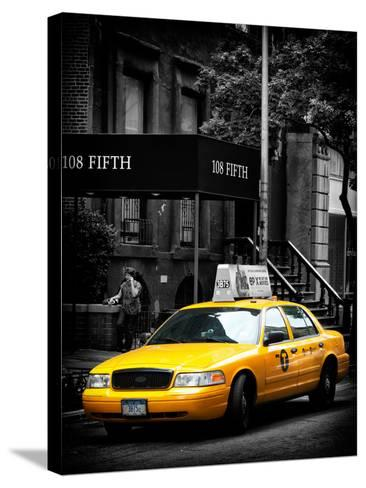 Yellow Taxis, 108 Fifth Avenue, Flatiron, Manhattan, New York City, Black and White Photography-Philippe Hugonnard-Stretched Canvas Print