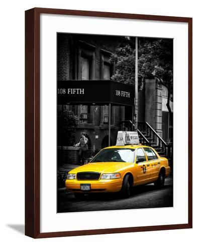 Yellow Taxis, 108 Fifth Avenue, Flatiron, Manhattan, New York City, Black and White Photography-Philippe Hugonnard-Framed Art Print