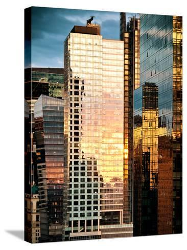 Reflection of the Sunset on the Windows of Buildings at Manhattan, Times Square, NYC, US, USA-Philippe Hugonnard-Stretched Canvas Print