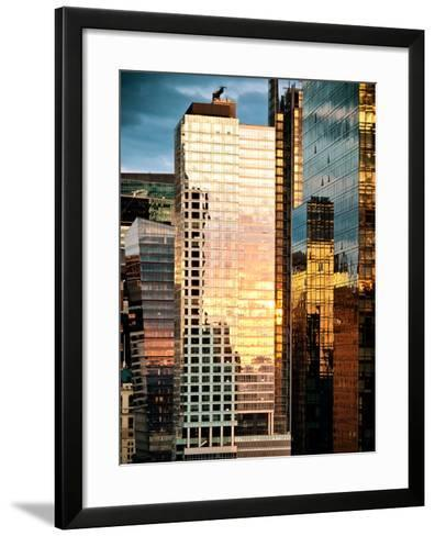Reflection of the Sunset on the Windows of Buildings at Manhattan, Times Square, NYC, US, USA-Philippe Hugonnard-Framed Art Print