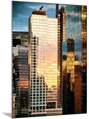 Reflection of the Sunset on the Windows of Buildings at Manhattan, Times Square, NYC, US, USA-Philippe Hugonnard-Mounted Photographic Print