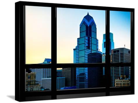 Window View, Special Series, Sunset Philly Skyscrapers View, Philadelphia, Pennsylvania, US, USA-Philippe Hugonnard-Stretched Canvas Print