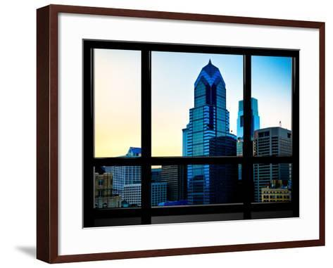 Window View, Special Series, Sunset Philly Skyscrapers View, Philadelphia, Pennsylvania, US, USA-Philippe Hugonnard-Framed Art Print