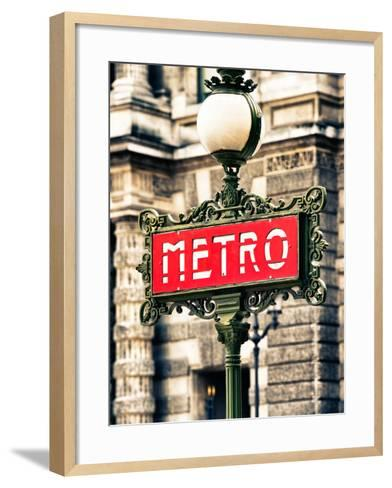 Classic Art, Metro Sign at the Louvre Metro Station, Paris, France-Philippe Hugonnard-Framed Art Print