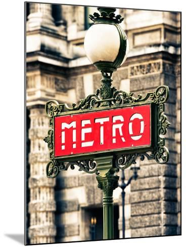 Classic Art, Metro Sign at the Louvre Metro Station, Paris, France-Philippe Hugonnard-Mounted Photographic Print