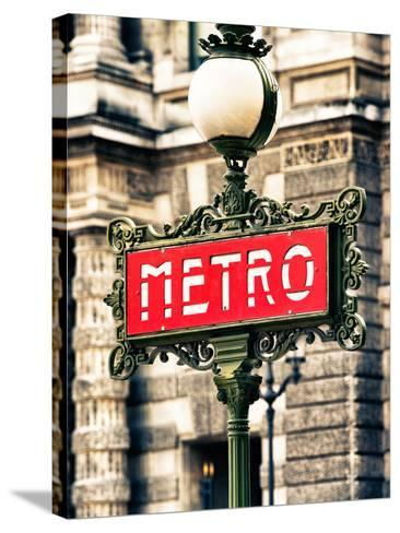 Classic Art, Metro Sign at the Louvre Metro Station, Paris, France-Philippe Hugonnard-Stretched Canvas Print