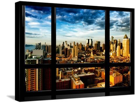 Window View, Landscape at Sunset, Theater District and Hell's Kitchen Views, Manhattan, New York-Philippe Hugonnard-Stretched Canvas Print