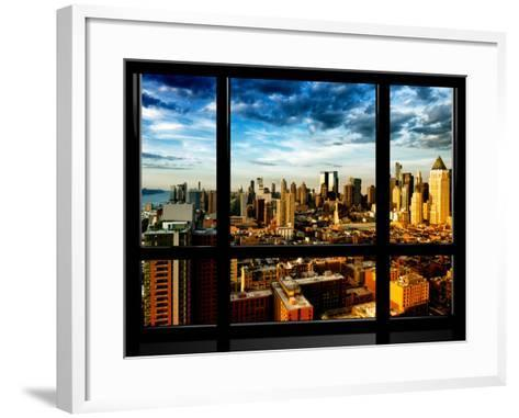 Window View, Landscape at Sunset, Theater District and Hell's Kitchen Views, Manhattan, New York-Philippe Hugonnard-Framed Art Print