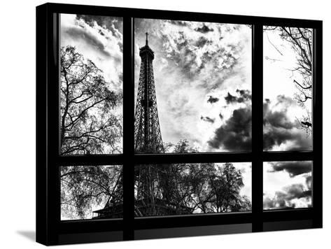 Window View, Special Series, Eiffel Tower View, Paris, France, Europe, Black and White Photography-Philippe Hugonnard-Stretched Canvas Print