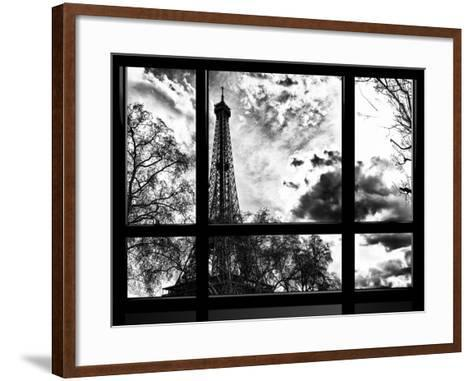Window View, Special Series, Eiffel Tower View, Paris, France, Europe, Black and White Photography-Philippe Hugonnard-Framed Art Print