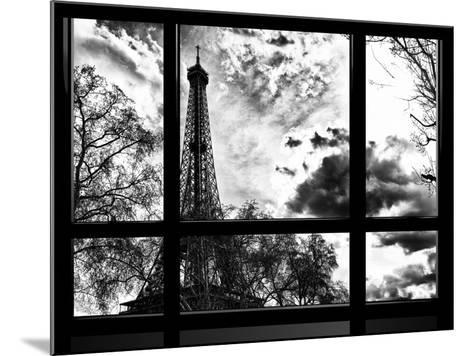 Window View, Special Series, Eiffel Tower View, Paris, France, Europe, Black and White Photography-Philippe Hugonnard-Mounted Photographic Print