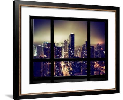 Window View, Misty View, Times Square and the New Yorker Hotel Views, Manhattan, New York-Philippe Hugonnard-Framed Art Print
