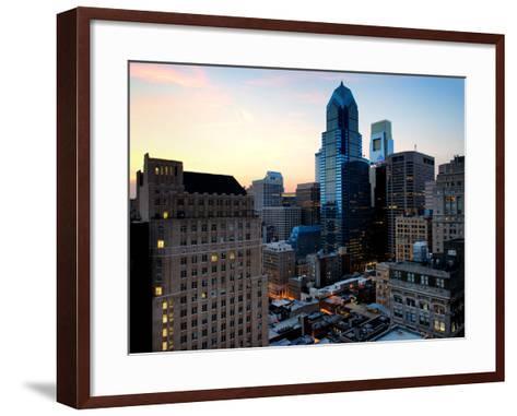 Philly Skyscrapers at Nightfall, Philadelphia, Pennsylvania, United States-Philippe Hugonnard-Framed Art Print