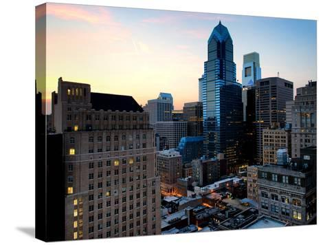 Philly Skyscrapers at Nightfall, Philadelphia, Pennsylvania, United States-Philippe Hugonnard-Stretched Canvas Print