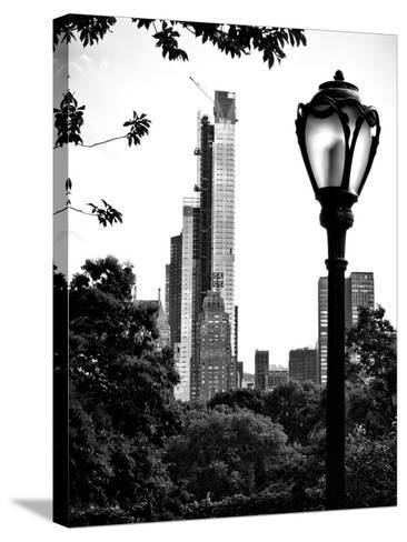 Floor Lamp in Central Park Overlooking Buildings (Essex House), Manhattan, New York-Philippe Hugonnard-Stretched Canvas Print