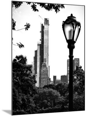 Floor Lamp in Central Park Overlooking Buildings (Essex House), Manhattan, New York-Philippe Hugonnard-Mounted Photographic Print