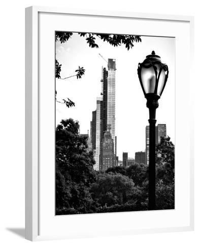 Floor Lamp in Central Park Overlooking Buildings (Essex House), Manhattan, New York-Philippe Hugonnard-Framed Art Print