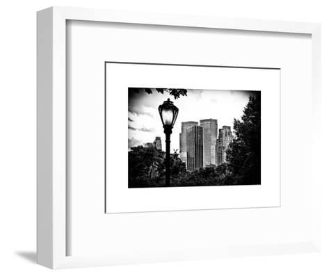 Floor Lamp in Central Park Overlooking Buildings, Manhattan, New York, White Frame-Philippe Hugonnard-Framed Art Print