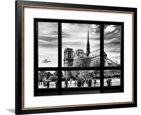 Window View, Special Series, Notre Dame Cathedral View, Paris, Europe, Black and White Photography-Philippe Hugonnard-Framed Art Print