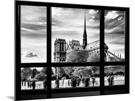 Window View, Special Series, Notre Dame Cathedral View, Paris, Europe, Black and White Photography-Philippe Hugonnard-Mounted Photographic Print