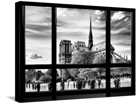 Window View, Special Series, Notre Dame Cathedral View, Paris, Europe, Black and White Photography-Philippe Hugonnard-Stretched Canvas Print
