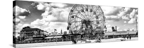 Panoramic View, Vintage Beach, Wonder Wheel, Coney Island, Brooklyn, New York-Philippe Hugonnard-Stretched Canvas Print