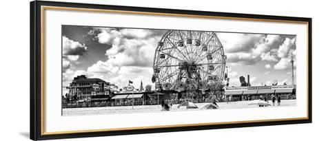 Panoramic View, Vintage Beach, Wonder Wheel, Coney Island, Brooklyn, New York-Philippe Hugonnard-Framed Art Print