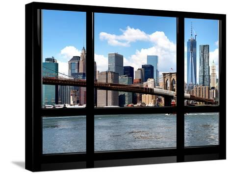 Window View, Manhattan with One World Trade Center (1WTC) and the Brooklyn Bridge, New York-Philippe Hugonnard-Stretched Canvas Print