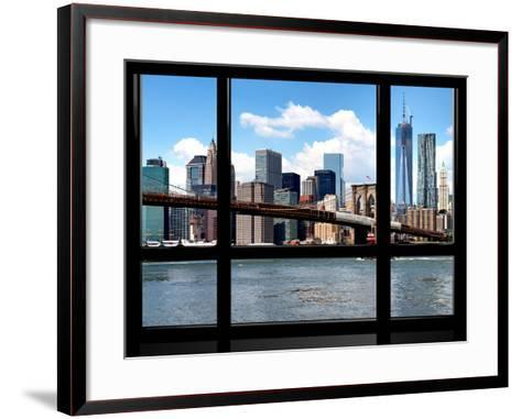 Window View, Manhattan with One World Trade Center (1WTC) and the Brooklyn Bridge, New York-Philippe Hugonnard-Framed Art Print